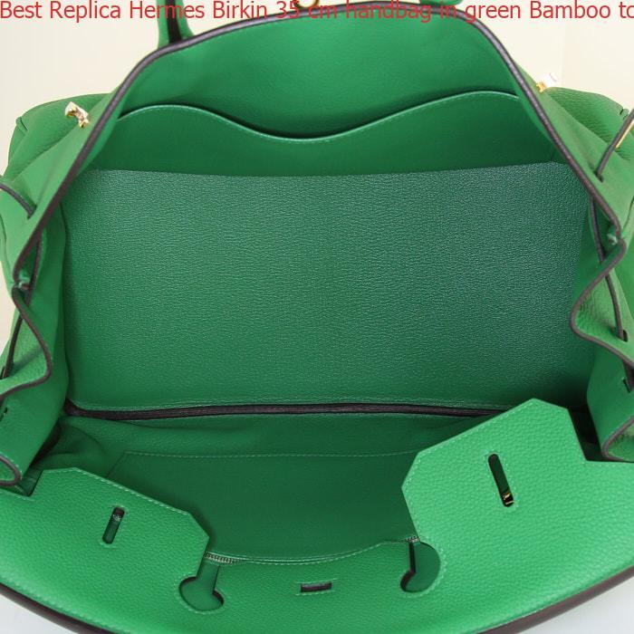 f50a4b8c332 Best Replica Hermes Birkin 35 cm handbag in green Bamboo togo leather