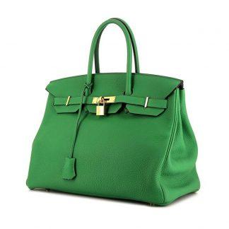 0afed751554c Best Replica Hermes Birkin 35 cm handbag in green Bamboo togo leather ...