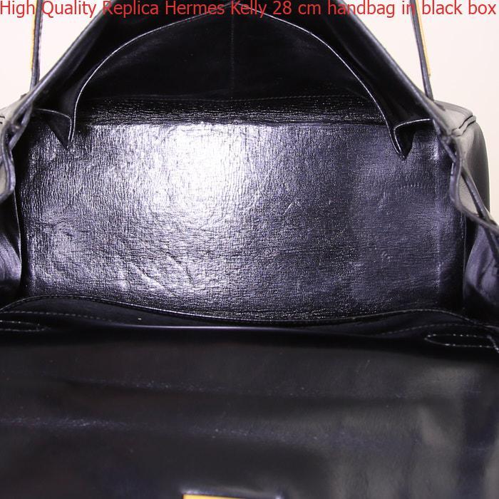 1e4e37958ee High Quality Replica Hermes Kelly 28 cm handbag in black box leather ...