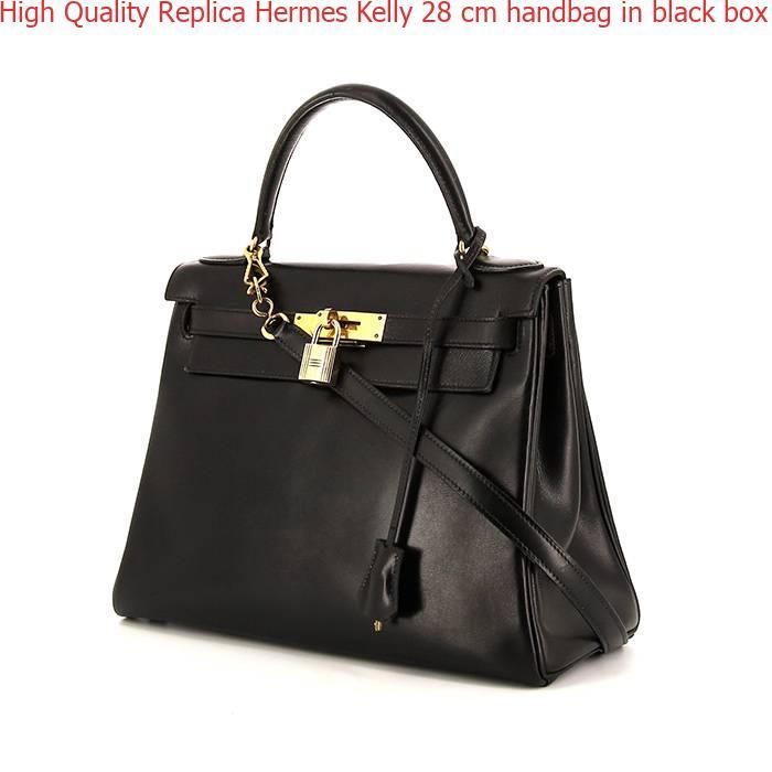 11060d27740b High Quality Replica Hermes Kelly 28 cm handbag in black box leather ...