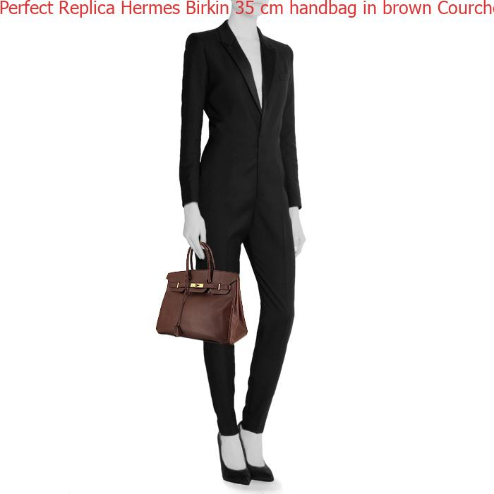 f59a31f259e Perfect Replica Hermes Birkin 35 cm handbag in brown Courchevel leather